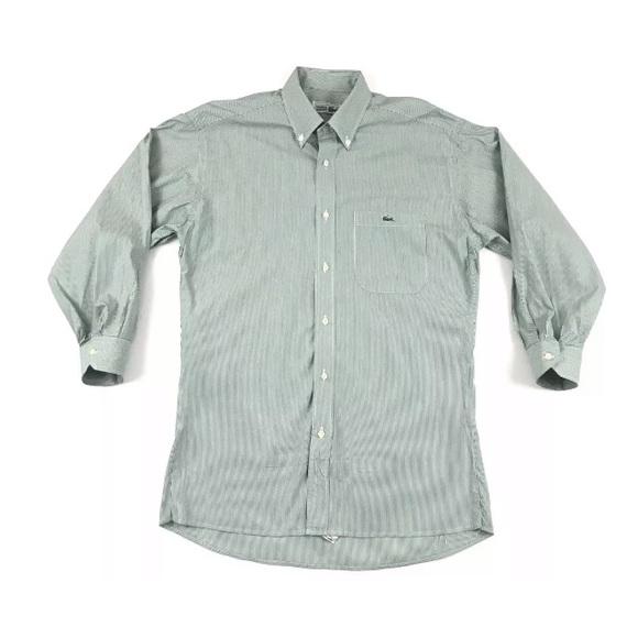 82cef00472 Chemise Lacoste Men's Green & White Dress Shirt 39